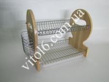 АЕ-762 Сушарка для посуду 2 поверха  з дерев. вставками (6 шт)