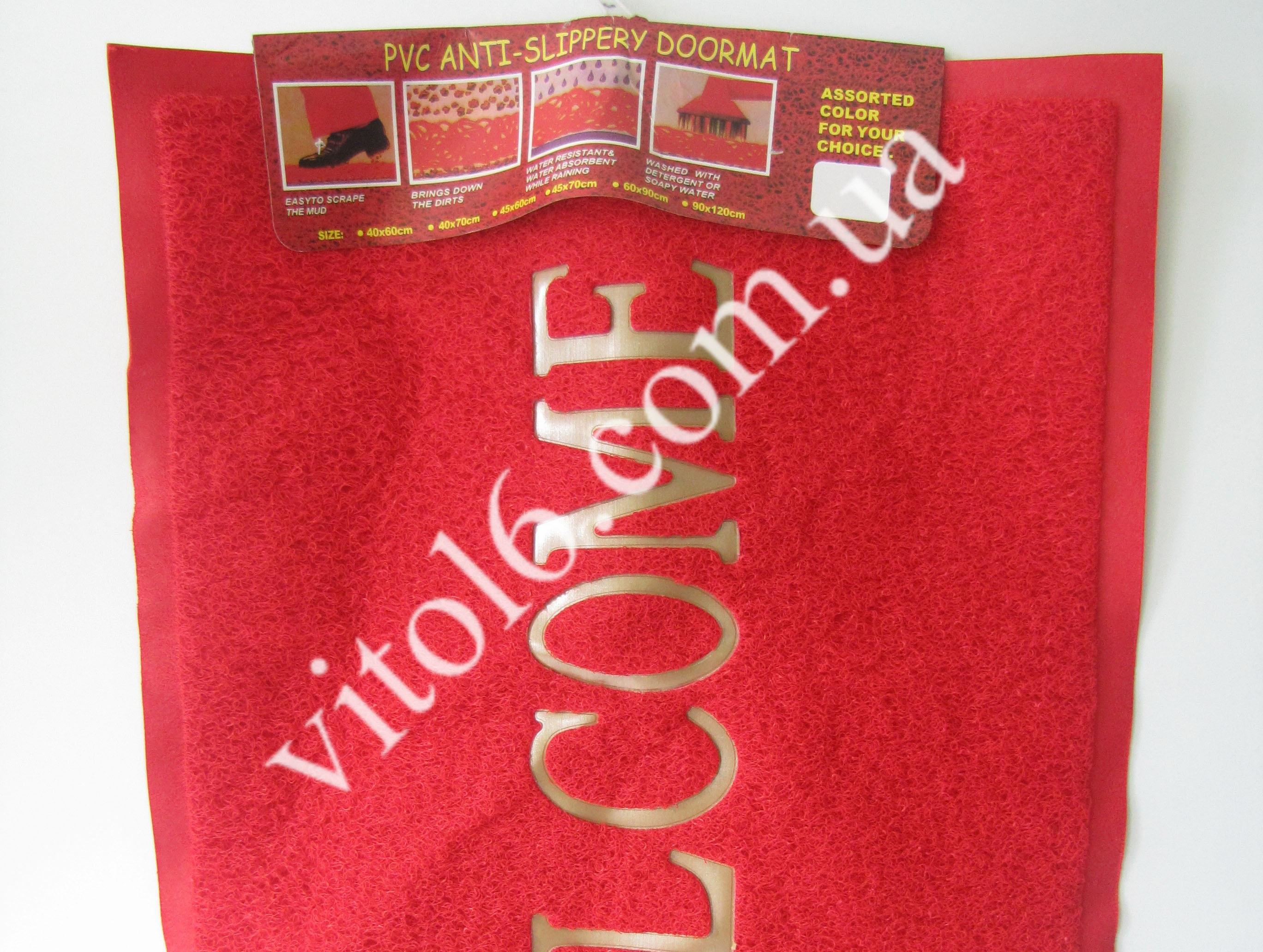 Коврик WELCOM 58*78 в упаковке (красный ) VT6-13418 (30шт)