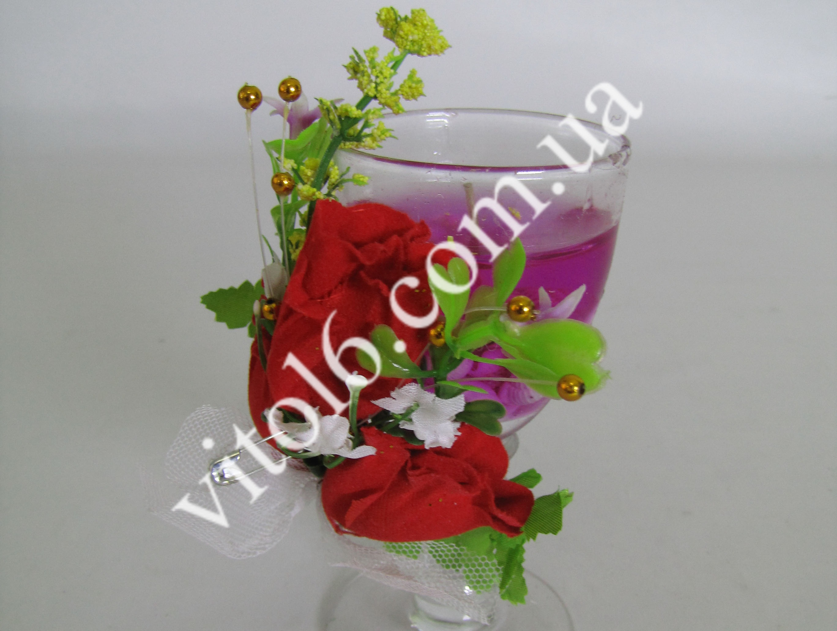 Свеча обычная гелевая с цветами VT6-13466(168шт)