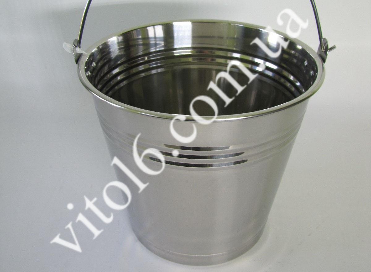 Ведро нерж без крышки 12л VT6-14792(30шт)