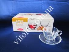 Чашка с блюдцем чайная из 6-ти Бейсик  97948 (4шт)