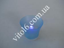 Свеча в стакане голубая 4см (8шт)VT6-16061(432шт)