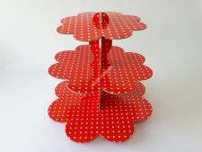 Этажерка картон.из3-х для пирожен.краснаяVT6-17355