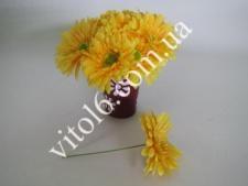 Гербера искусств.жёлтая на проволоке(48)VT6-17602
