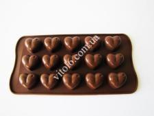 Форма силиконовая из 15-ти  Сердце  в упаковке VT6-18785(200шт)
