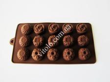 Форма силиконовая из 15-ти  Цветы  в упаковке VT6-18786(200шт)