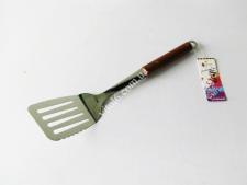 Лопатка нерж с дырами 0935 с деревян ручкой 36см VT6-19217(200шт)