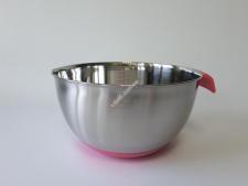 Миска нерж з силіконовим дном і ручкою 25см рожева 5л VT6-19543(60шт)